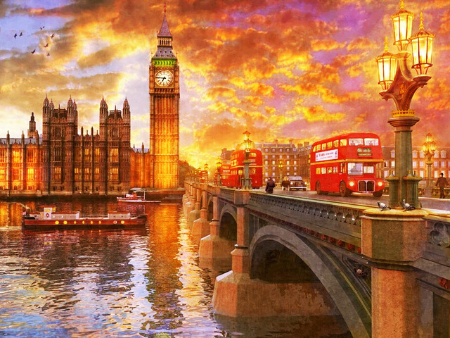 London City Scape Painting By Numbers Kit Westminster Big Ben Sunset