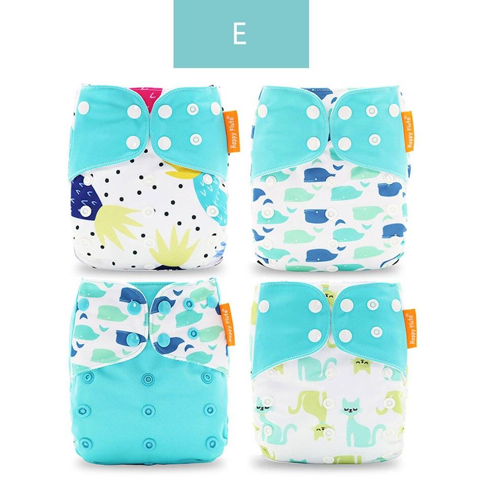 Happyflute 4 шт./компл. моющиеся экологически чистые тканевые подгузники; регулируемый пеленки Многоразовые подгузники из ткани подходит 0-2years, на Возраст 3-15 кг для малышей - Цвет: E only diaper