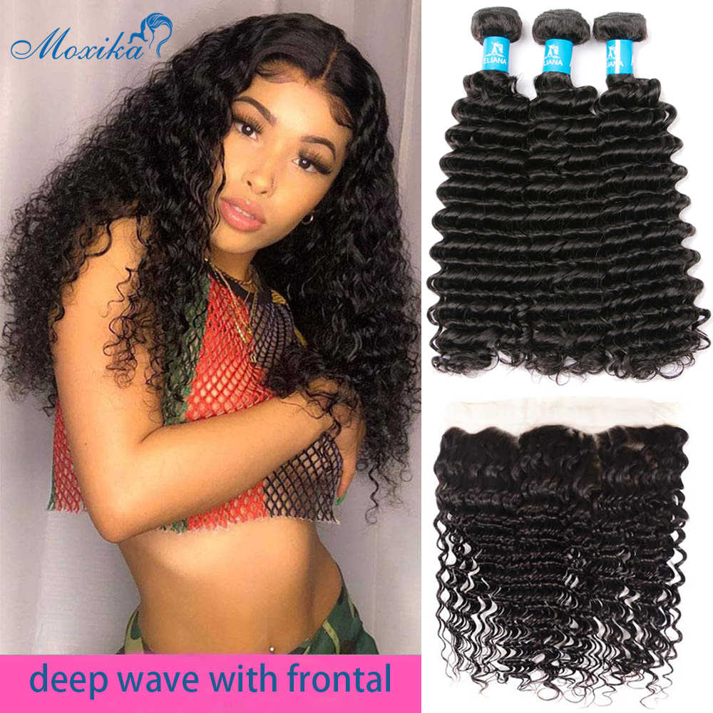 Moxika Deep Wave Bundles With Frontal Brazilian Hair Weave 3Bundles With Closure Ear To Ear Remy Human Hair Bundles With Closure