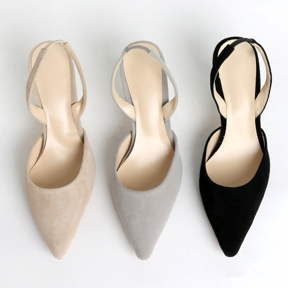 2020 New Arrival Dress Shoes High Quality Flock Shallow Women Sandals Summer Simple Pointed Toe Ladies Shoes Big Size A0027