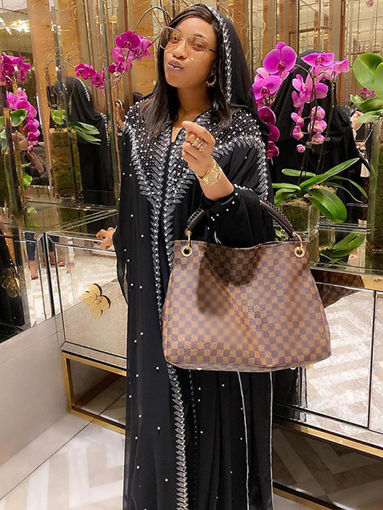 Abaya Dress Kaftan Stones Turkish Dubai Kimono Women Open Muslim Chiffon Elegant Plus-Size