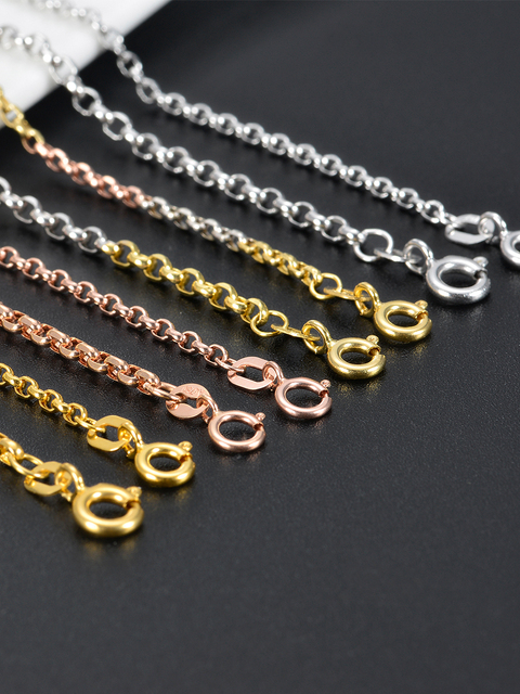 "Colar rolo corrente ouro 18k, colar de ouro sólido 16 ""18"" 20 ""22"" 24 ""garantida colar de ouro puro 18kt 2mm, colar de ligação fecho de primavera feminino 3"