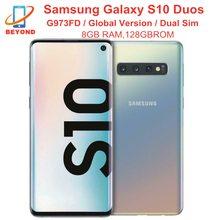 Samsung Galaxy S10 Duos G973FD Dual Sim 8GB RAM 128GB ROM 6 1 #8222 Octa Core Globale wersja NFC 4G LTE Exynos poręczny tanie tanio Inne Nie odpinany KR (pochodzenie) Odnowiony Android W-ekran rozpoznawania linii papilarnych Wcdma Exynos 9820 12MP 16MP