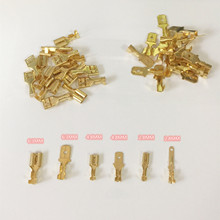 100Pcs/lot 2.8/4.8/6.3mm Female and male Crimp Terminal Connector Gold Brass/Silver Car Speaker Electric Wire Connectors Set