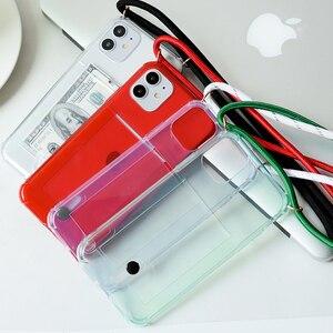 Image 3 - Слот для кредитной карты, прозрачный, прозрачный чехол для телефона 11 Pro XS MAX X XR 8 7 6 6S Plus цепочка из ТПУ мягкий ремешок