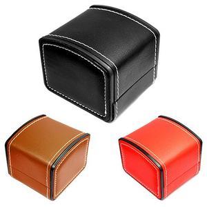 Faux Leather Square Jewelry Watch Case Display Gift Box with Pillow Cushion New(China)