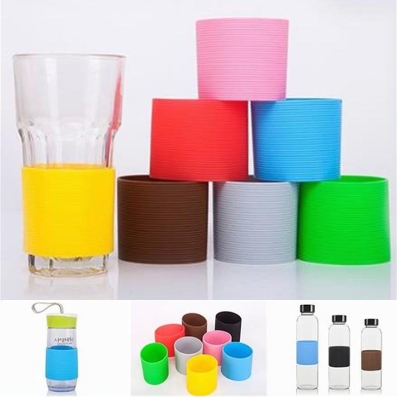 Colorful Silicone Heat Insulated Cup Sleeve Stripes Dense Stripes Design Non-Slip Wraps For Mugs Ceramic Cup