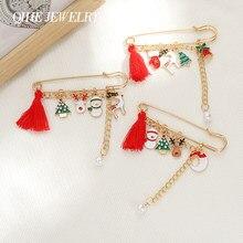 Joyería QIHE de la serie de Navidad Pines de esmalte colgante de alce de muñeco de nieve lindo broches insignias de moda Pin regalos para amigos al por mayor