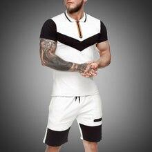 Летний стильный мужской комплект спортивной одежды цветная рубашка