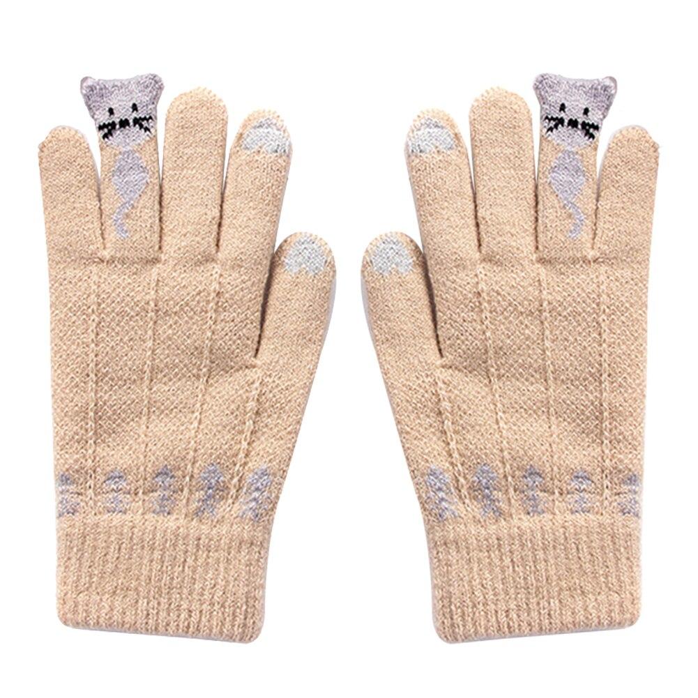 Unisex Cartoon Cats Winter Warm Knitted Gloves Full Finger Touch Screen Mittens