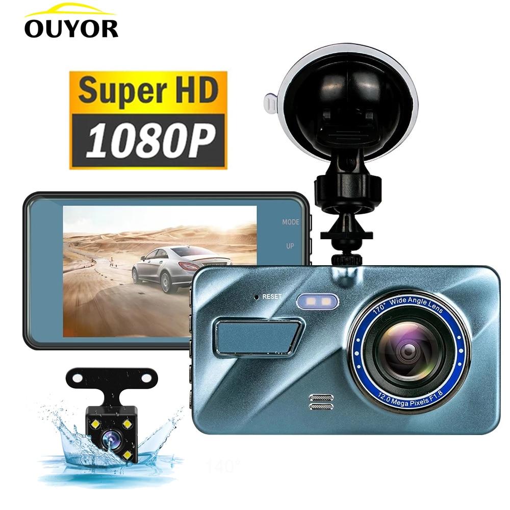 J16 carro dvr gravador de vídeo câmera traço 1080p visão traseira lente dupla 3.6 hd g sensor gravação ciclo portátil traço cam dashcam