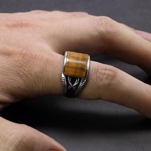 Image 5 - Garantiert 925 Sterling Silber Ringe Retro Vintage Türkische Ringe Mann Ringe Mit Stein Rot Schwarz Onyx Tiger Eye Türkischen Schmuck