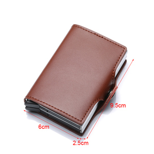 Image 2 - Genuine Leather Men Women Credit Card Holder Security Wallet Big Metal Rfid Blocking Double Box Creditcard Case Bag Protection