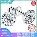 YANHUI Kristall Von Swarovski Fashion Echtes 925 Sterling Silber Stud Ohrringe Für Frauen Hochzeit Edlen Schmuck Geschenk E0201