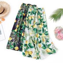 2019 New Summer Women Floral Print Pants Bohemian High Waist Wide Leg Pants Female Cotton Linen Casual Beach Trousers