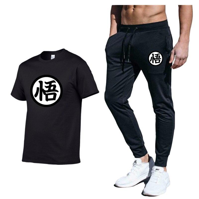 Anime Dragon Ball Large Size Tracksuit Men Set Letter Sportswear Set Sweatsuit Male Men Shorts + T Shirt Men's Suit 2 Pieces Set
