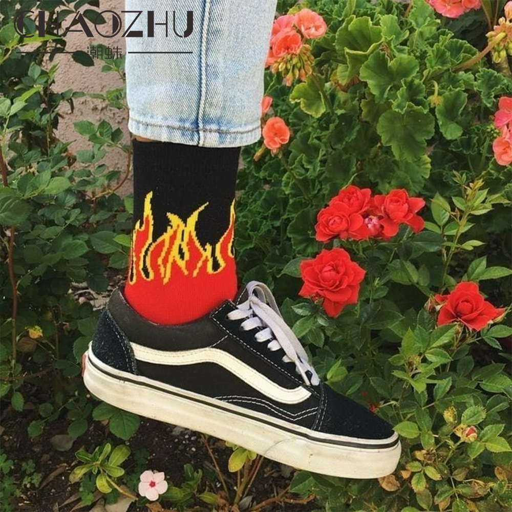 CHAOZHU Grunge Fashion Girls Boys Streetwear Cool Fire 9 Colors Skateboard Cotton Knitting Stretch Hip Hop Brand Harajuku Socks
