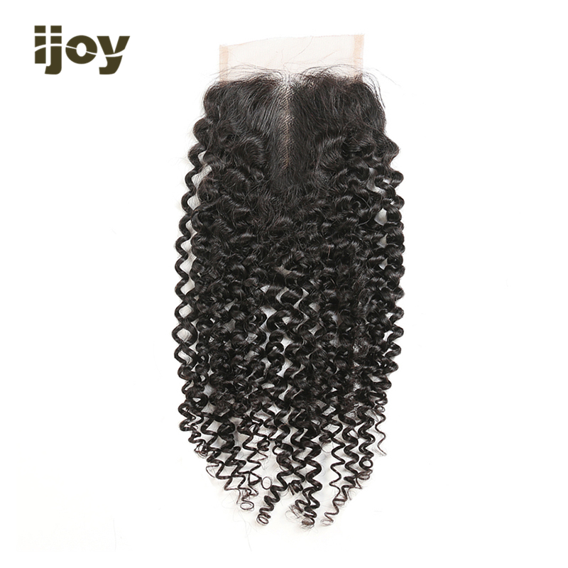 【IJOY】Kinky Curly Human Hair With 4x4 Lace Closure Natural Color 8