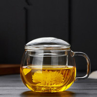 Household high borosilicate glass  heat-resistant float cup  single-layer filter  high-temperature resistant office tea cup