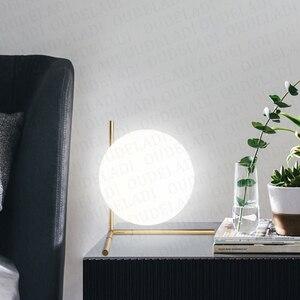 Image 2 - 現代のガラス玉テーブルランプゴールド北欧シンプルな寝室のベッドサイド読書デスクランプ家の装飾 LED テーブルライト Lamparas