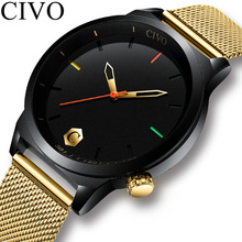 CIVO Luxury Wrist Watches For Men Gold Slim Mesh Strap Minimalist Quartz Sports Clock Waterproof Date Relogio Masculino