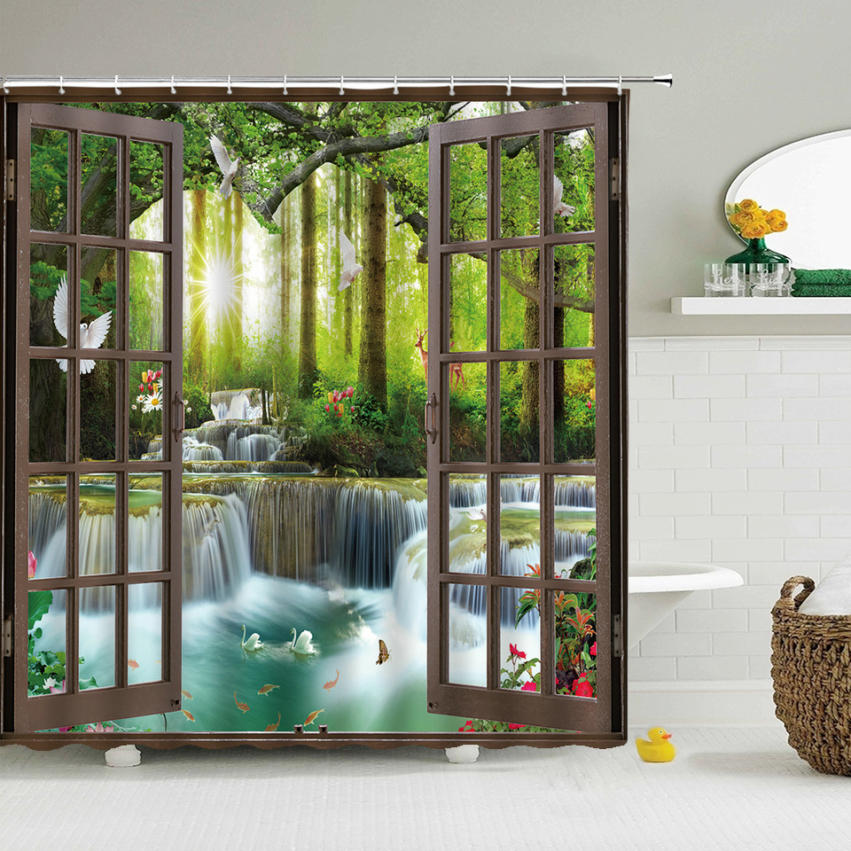 Bath Curtain 3d Printing Window Scenery Forest Shower Curtains 180*200cm Waterproof Bathroom Curtain Washable Fabric With Hooks