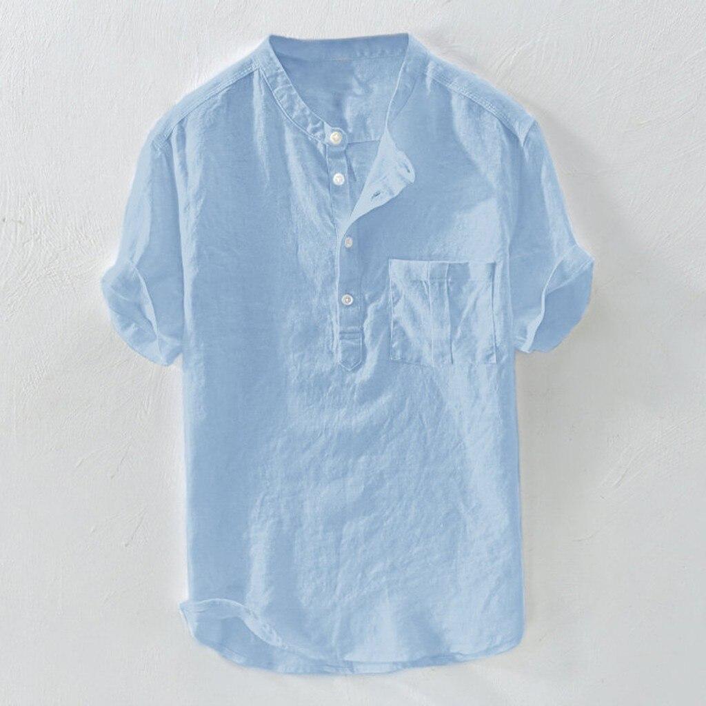 Men's Solid Cotton Button-Line T-Shirts Men Summer New Hemp Short Sleeves Fashion Large Blouse Top 3.25