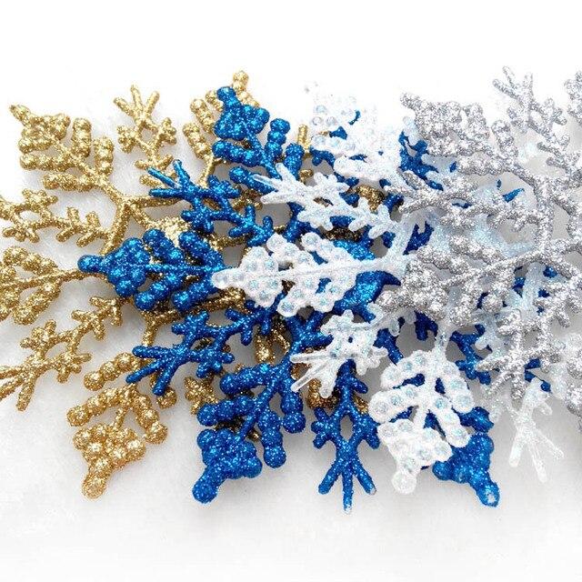 6 stücke 10cm Gold Silber Glitter Pulver Schneeflocke Weihnachten Ornamente Anhänger Weihnachten Baum Decor Party Hochzeit Hause Dekoration 62283