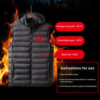 Men Women Outdoor USB Infrared Heating Vest Jacket Hooded Winter Flexible Electric Thermal Clothing Waistcoat Camping Hiking