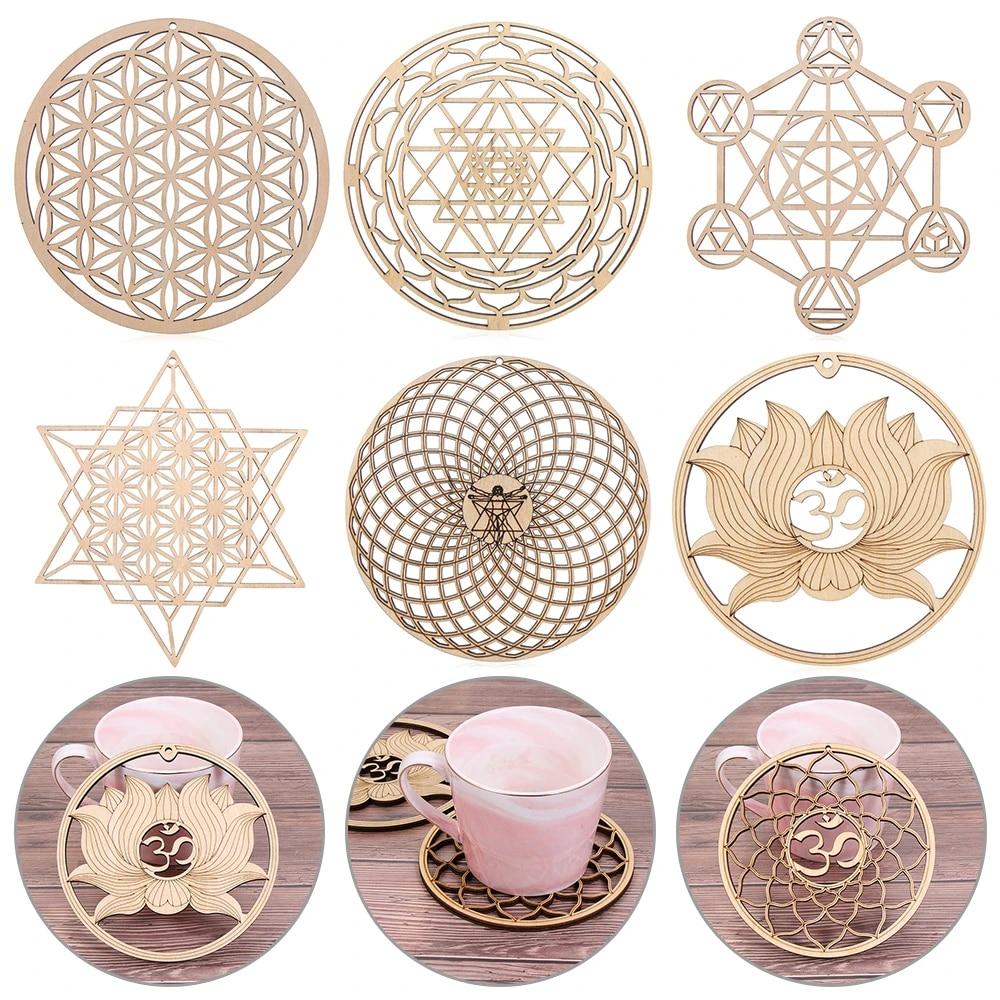 Slice Wood Base Flower Of Life Energy Mat Wooden Wall Sign Meditation Energy
