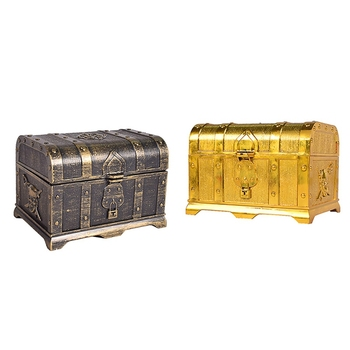 2x Pirate Treasure Chest Treasure Chest Keepsake Jewelry Box Plastic Toy Treasure Boxes Electroplating Gold & Bronze pirate gold coins plastic set of 100 play gold treasure coins for play favor party supplies pirate party treasure hunt