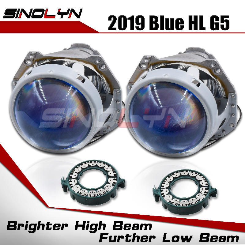 Bi-xenon Headlight Lenses HID Projector Upgrade 3.0'' For Hella 3R G5 5 Blue Film Lens Auto Car Accessories Retrofit D1S D2S D3S