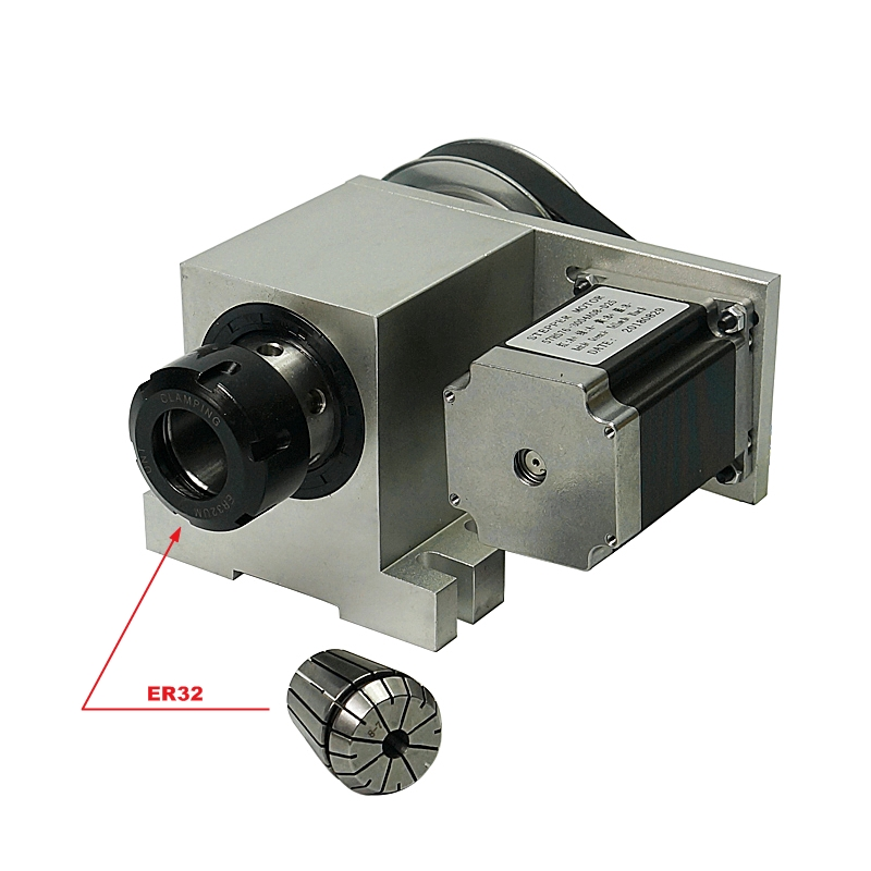 4th Axis Harmonic Drive Reducer Rotary Axis A Aixs With ER32 Collet Chuck  For Cnc Router Cnc Milling Machine