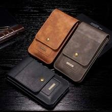 Funda Universal de cuero PU para IPhone y Samsung, funda para teléfono con Clip para cinturón de cintura, bolsa para teléfono con gancho, tarjetero, 5,5 pulgadas