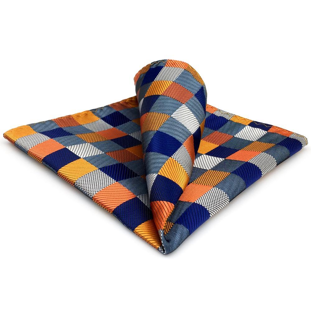 Checks Multi-color Pocket Square Mens Silk Jacquard Woven Hankies Handkerchief