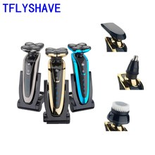 kemei rechargeable electric shaver facial care men s shaving electric shaver hair trimmer high quality material rscw 5600 TFLYSHAVE Men Electric Shaver Quality Assurance Facial Shaving Machine Waterproof Beard Trimmer Private Facial Rechargeable