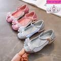 Детская обувь с блестками и бабочкой для девочек танцевальная обувь для вечеринки на плоской подошве  на толстом каблуке  серебристого  роз...