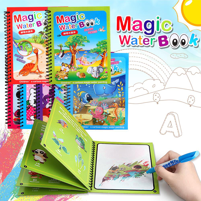 14 Kinds Magic Drawing Toy Set Boy Water Coloring Book Girl Toys Drawing Board Reusable Magical Water Coloring Book Gift For Kid