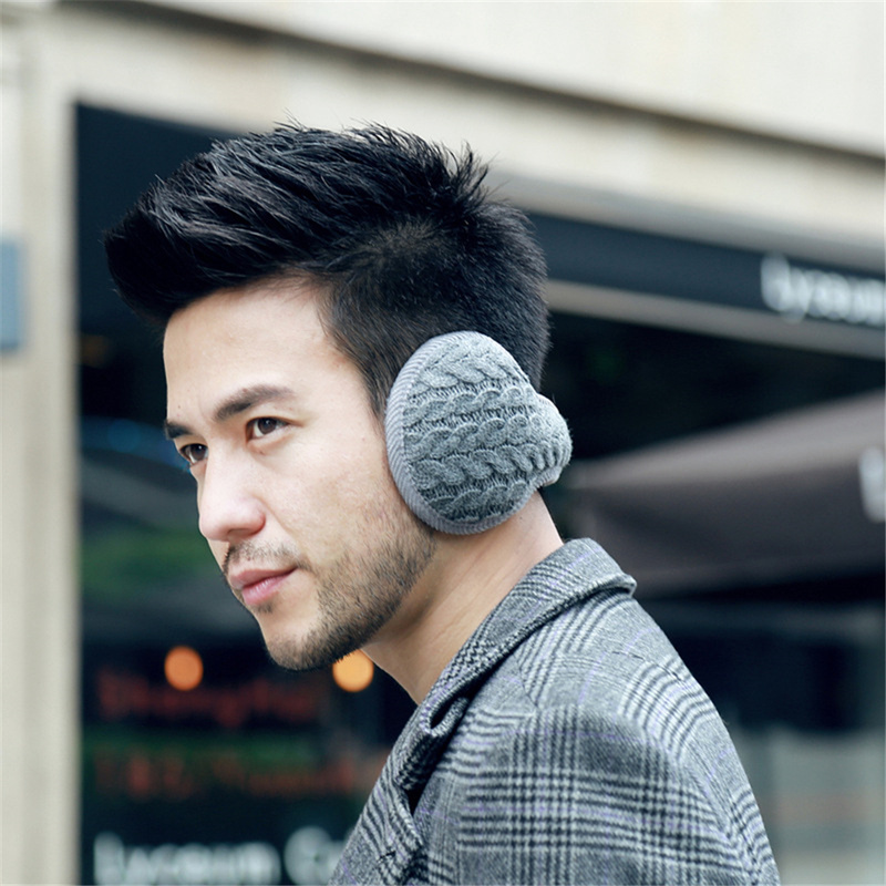 Helisopus Winter Warm Plush Earmuffs Men's Fashion Foldable Comfort Ear Muffs Solid Color Cold-proof Ear Protective Cover
