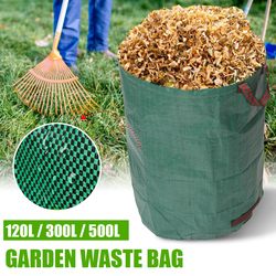 Duża pojemność Heavy Duty Garden House worek na śmieci trwała wodoodporna stocznia liść trawa pojemnik przechowywanie 120L/300L/500L Ogrodowe kosze na śmieci    -