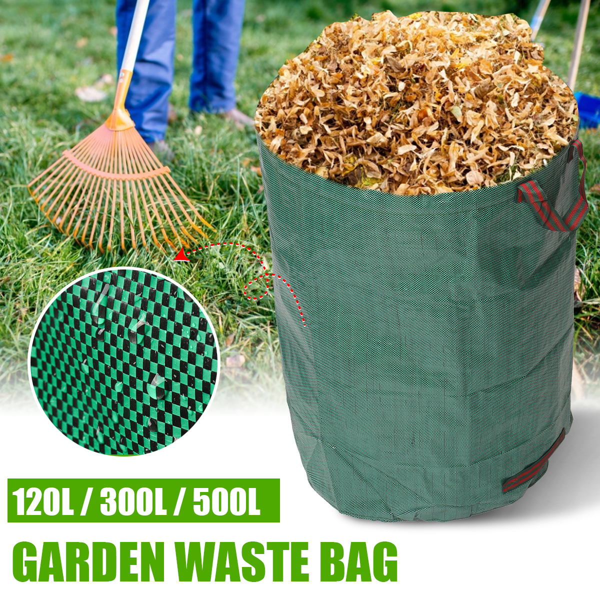Large Capacity Heavy Duty Garden House Waste Trash Bag Durable Waterproof Yard Leaf Grass Container Storage 120L/300L/500L