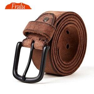 Image 1 - FRALU men high quality genuine leather belt luxury designer belts men cowskin fashion Strap male Jeans for man cinturon hombre