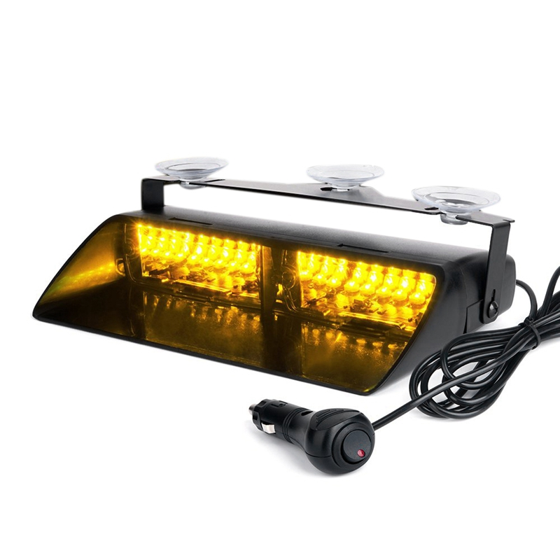 Yellow 16 LED High Intensity LED Law Enforcement Emergency Hazard Warning Strobe Lights for Interior Roof/Dash/Windshield with S