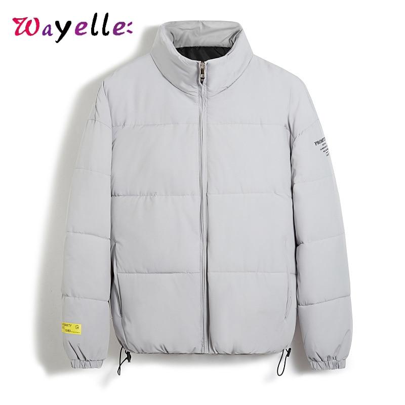 Men Jacket Winter 2019  Loose Cotton Liner Warm Men Parka Korean Solid Fashion Men Jackets Stand Zipper Pockets  Puffer Jacket