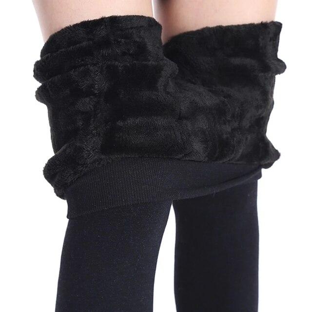 Winter Warm Plus Size Leggins Solid Color Velvet Women Leggins High Waist Leggings Stretchy Black Leggings dropshipping 3