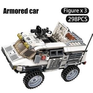 Image 1 - 298PCS Military Car Vehicle Weapon Sets Building Blocks WW2 Army Panzer Chinoook Brick DIY Toy Children Boy Gift