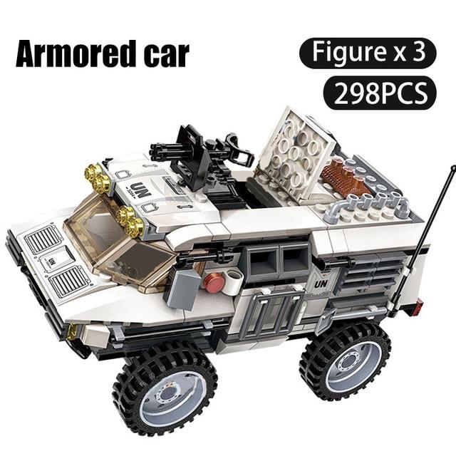 298PCS Military Car Vehicle Weapon Sets Building Blocks WW2 Army Panzer Chinoook Brick DIY Toy Children Boy Gift