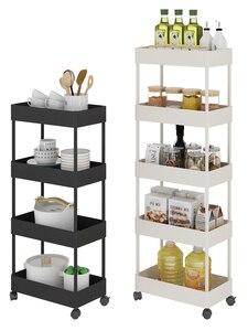 Кухонная полка для ванной комнаты, мобильная колесная тележка, многоуровневая полка для хранения мусора