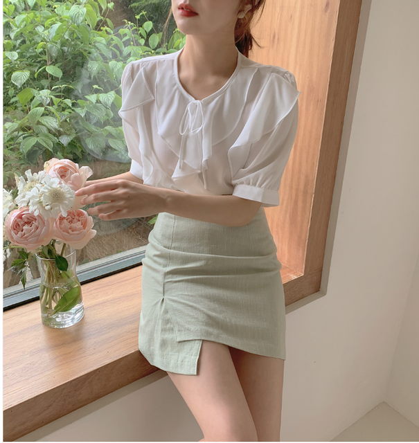 New Oversize Girls Summer blouse women chiffon suit short sleeves  Tops high waist pencil skirt  two piece suits Sell separately 4