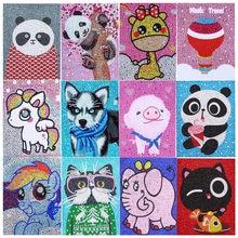 Fácil dos desenhos animados das crianças teste padrão animal diy 5d diamante pintura kits completo brilhante broca de cristal mosaico pintura para crianças presente